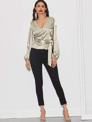 Shein Solid Surplice Neck Wrap Belted Blouse