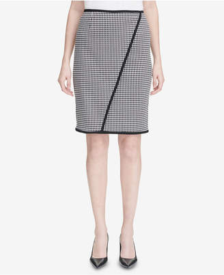 Calvin Klein Piped Houndstooth Pencil Skirt