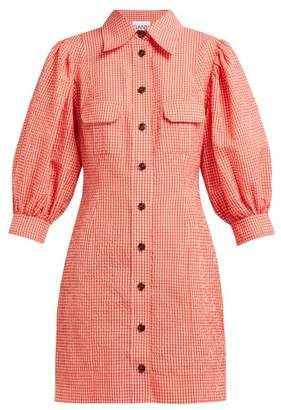 Ganni Gingham Puff Sleeve Seersucker Mini Shirtdress - Womens - Red White