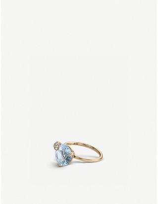 Rosegold BUCHERER JEWELLERY Peekaboo 18ct rose-gold, aqua stone diamond ring