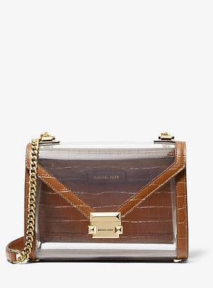 1c147bb51f09 Michael Kors Whitney Large Clear And Leather Convertible Shoulder Bag