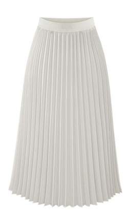 Kuji Women's Casual Elastic High Waist A-line Retro Chiffon Pleated Skirt( ,XL)