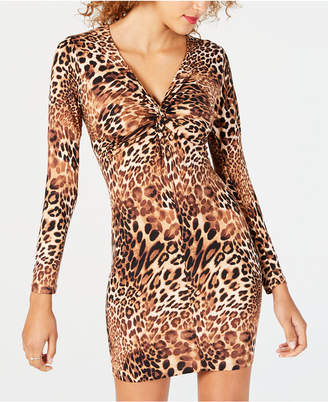 Ultra Flirt Juniors' Leopard-Print Bodycon Dress