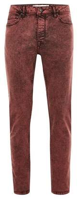 Topman Mens Red Acid Wash Stretch Skinny Jeans
