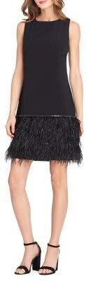 Tahari Arthur S. Levine Feather-Trim Crepe Fit-&-Flare Dress