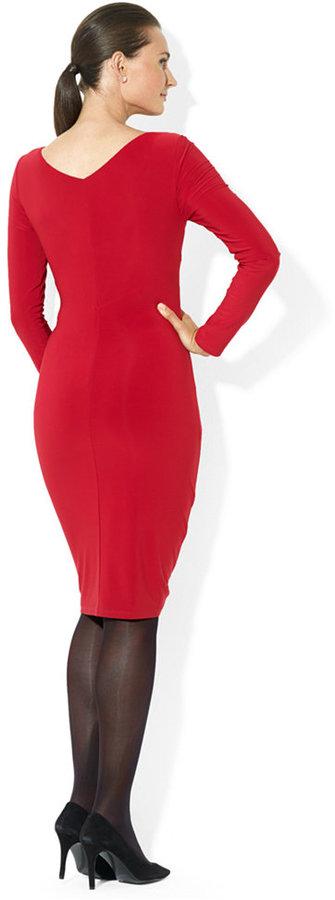 Lauren Ralph Lauren Long-Sleeve Faux-Wrap Ruffled Dress