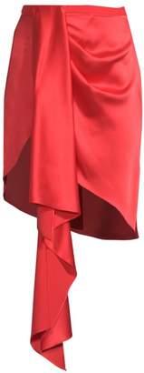 Fleur Du Mal Asymmetrical Silk Mini Skirt