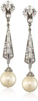 Swarovski Ben-Amun Jewelry Crystal and Glass Pearl Drop Earrings