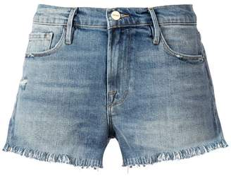 Frame Le Cut Off Shredded Raw denim shorts