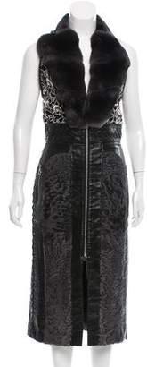 Brandon Sun Chinchilla & Shearling-Paneled Leather Dress