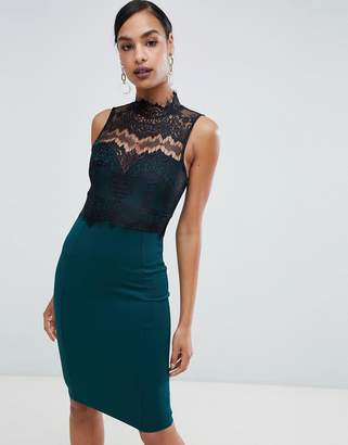 Lipsy high neck lace pencil dress