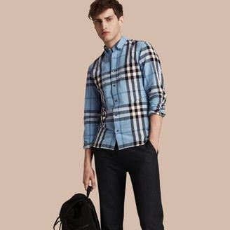 Burberry Button-down Collar Check Linen Cotton Shirt $350 thestylecure.com