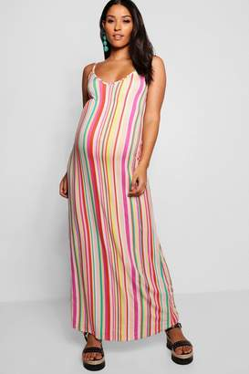 boohoo Maternity Low Back Plunge Stripe Maxi Dress