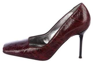 Dolce & Gabbana Embossed Square-Toe Pumps