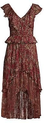 The Kooples Women's Printed Ruffle Midi Dress
