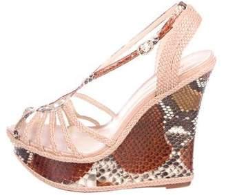 Alexandre Birman Snakeskin Wedge Sandals