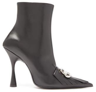 Balenciaga Fringed Point Toe Leather Ankle Boots - Womens - Black Silver