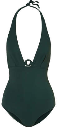 Eres Studio Effect Embellished Halterneck Swimsuit - Emerald