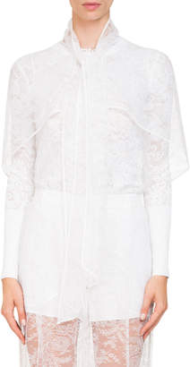 Givenchy Short Cape Sleeve Sheer Lace Blouse