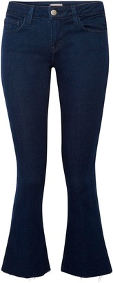 L'Agence The Charlie Frayed Low-rise Kick-flare Jeans