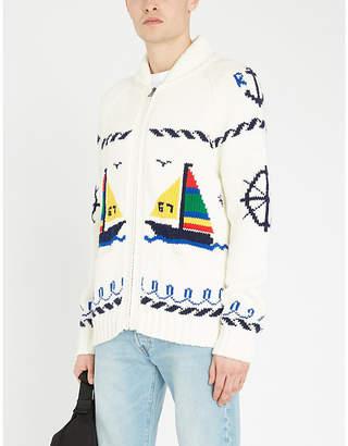 Polo Ralph Lauren Graphic intarsia-knit cotton-blend cardigan