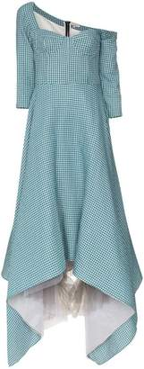 Natasha Zinko Asymmetric gingham off-shoulder bustier maxi dress