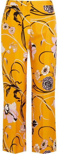 Emilio Pucci - Floral-print Silk-twill Straight-leg Pants - Marigold
