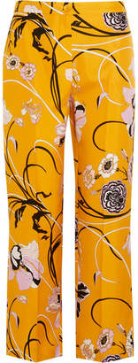 Emilio Pucci - Floral-print Silk-twill Straight-leg Pants - Marigold $980 thestylecure.com