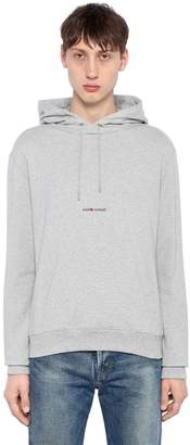 Saint Laurent Logo Detail Hooded Jersey Sweatshirt