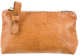 Chloé Chloé Embossed Leather Zip Pouch