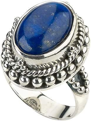 Lapis Samuel B Jewelry Sterling Silver Bezel Set Blue Beaded Trim Ring