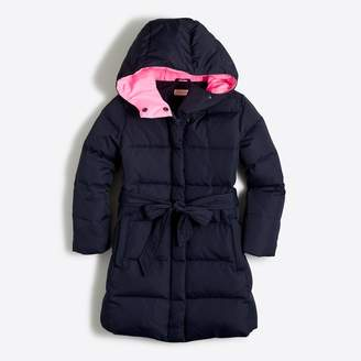 J.Crew Factory Girls' long belted puffer coat