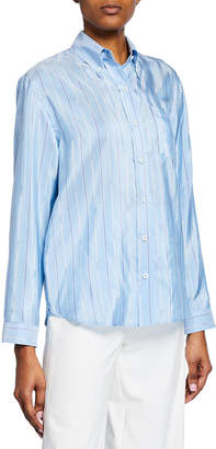Prada Logo-Striped Silk Button-Down Blouse