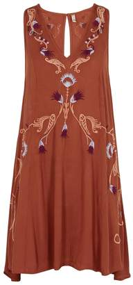 Free People Adelaide Ochre Embroidered Gauze Dress