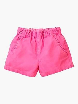 Boden Mini Girls' Ruffle Pocket Twill Shorts, Festival Pink