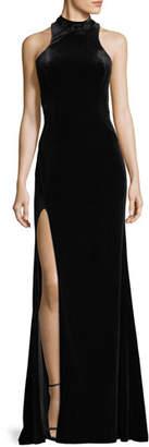 La Femme Halter-Neck Velvet Burnout Gown