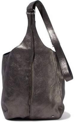 Halston Metallic Glittered-Leather Shoulder Bag