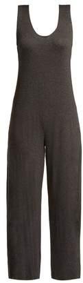 Norma Kamali Cross Back Stretch Jersey Jumpsuit - Womens - Dark Grey