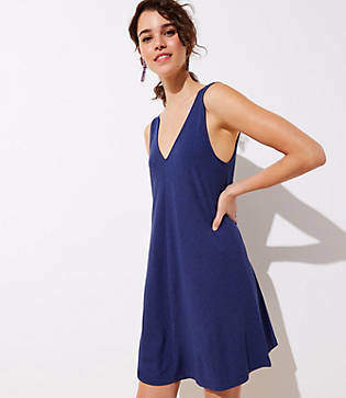 LOFT Petite Double V Sleeveless Swing Dress