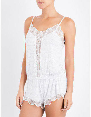 Eberjey Teddy stretch-jersey and lace playsuit $102 thestylecure.com
