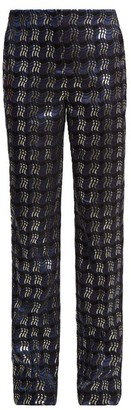 Diane von Furstenberg Waved Check Jacquard Straight Leg Trousers - Womens - Navy Multi