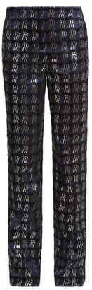 Diane von Furstenberg Waved Check Jacquard Straight Leg Trousers - Womens - Navy Multi