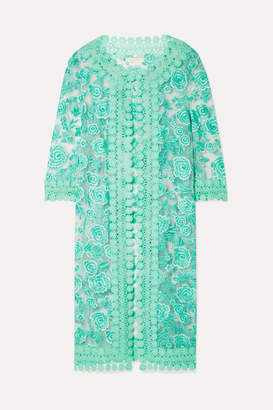 Naeem Khan Guipure Lace-trimmed Embroidered Tulle Jacket - Mint