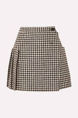 Vivienne Westwood Frayed Pleated Gingham Wool Wrap Mini Skirt - Black