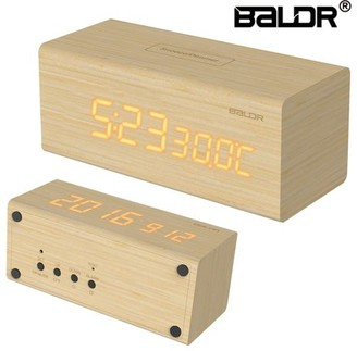BALDR Electronic BALDR Design LED REAL WOOD Alarm Clock_ Wooden Digital Alarm Clock with Battery Back Up_ Dimmable Touch Snooze Temperature Ca