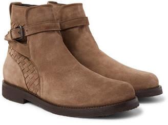 Bottega Veneta Shearling-Lined Suede Jodhpur Boots