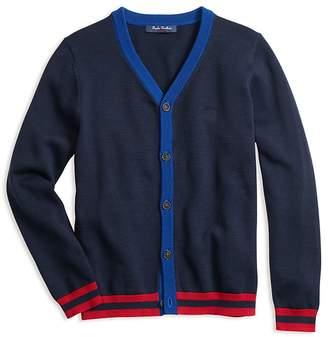 Brooks Brothers Boys' Contrast-Trim Cotton Cardigan - Little Kid, Big Kid