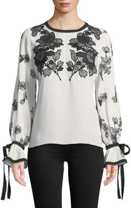 Andrew Gn Round-Neck Long-Sleeve Silk Blouse w/ Lace & Embroidery