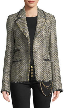 Veronica Beard Fabian Tweed Single-Button Jacket