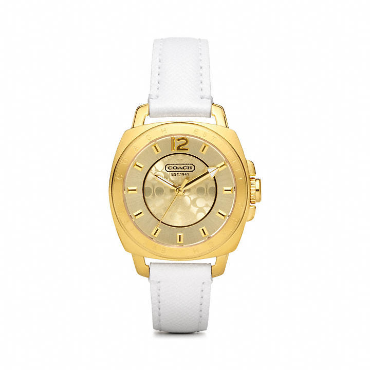 Coach Mini Boyfriend Gold Plated Strap Watch